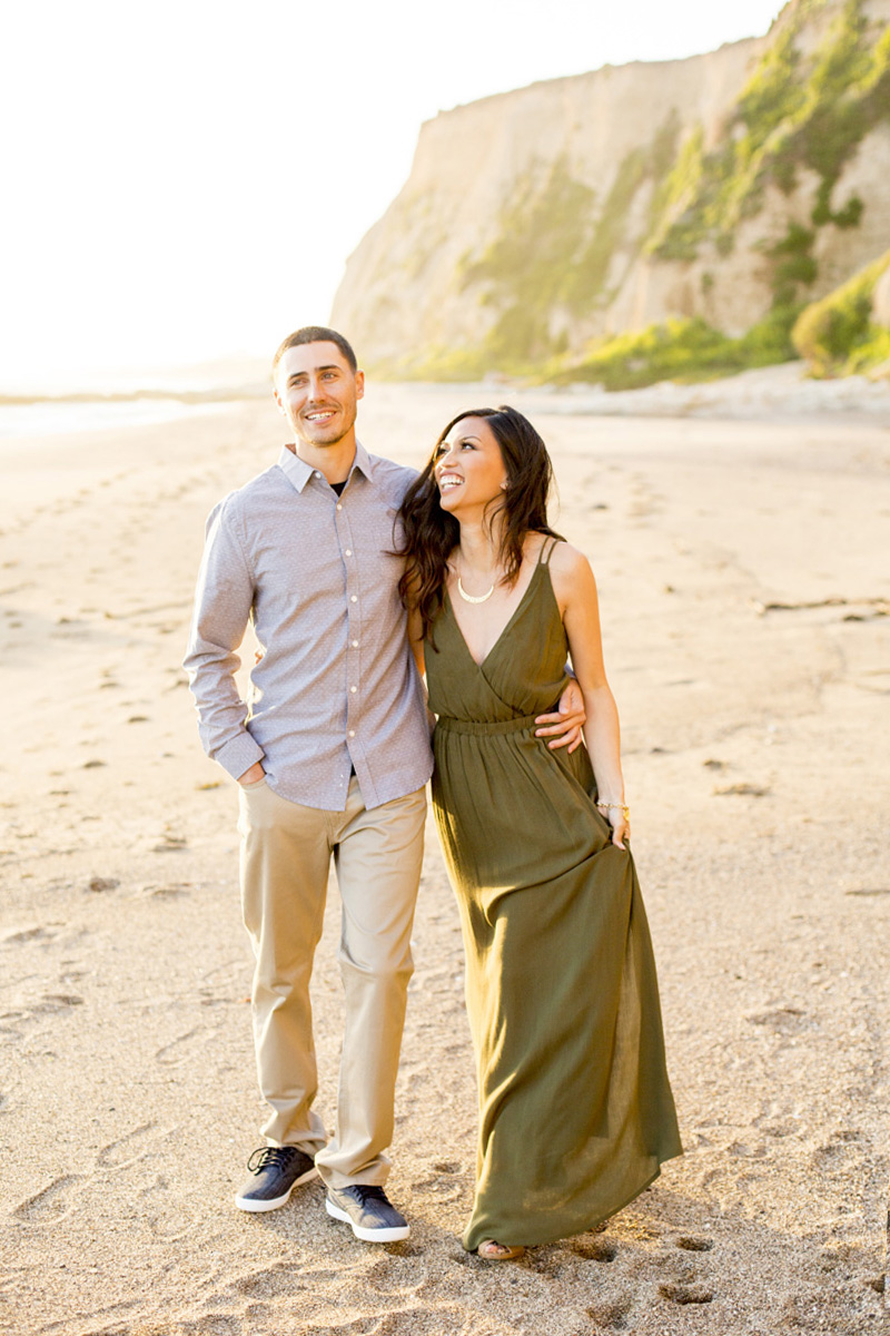 point reyes engagement shoot, olive dress engagement session, beach engagement photos, big sur engagement photos